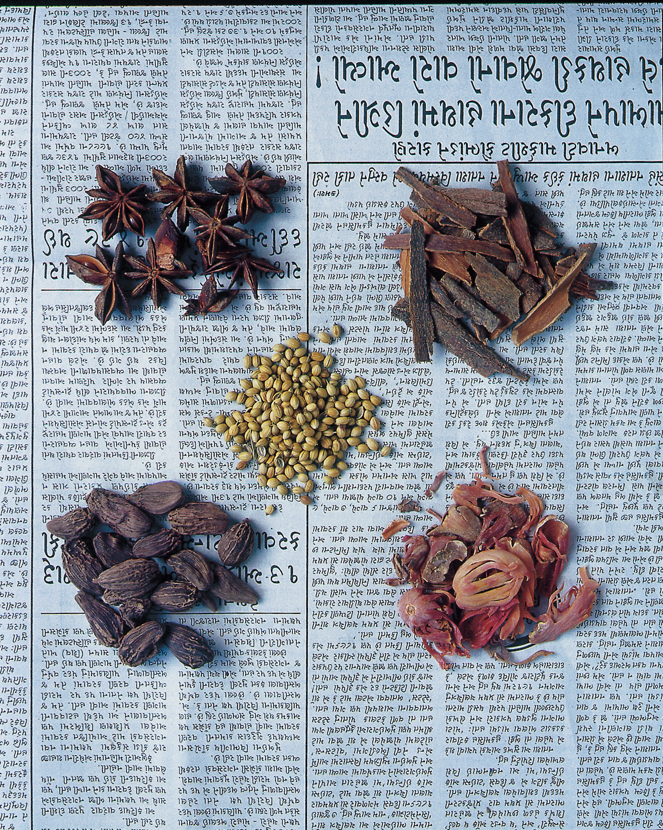 spices on newsprint