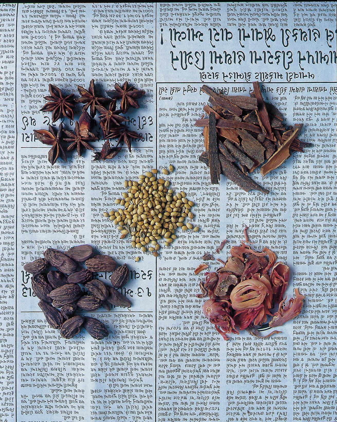 spices on newsprint